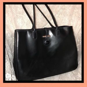Longchamp Authentic Roseau Black Leather Tote USED